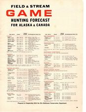 1964 Game Hunting Forecast Canada Alaska Fees Areas Vintage Print Ad