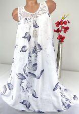 Kleid Hängerchen Sommer Tunika Strandkleid Baumwolle Blumen Netz Weiß 44 46 48