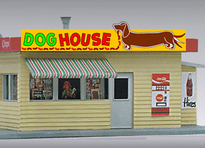 DOG HOUSE HOT DOG ANIMATED NEON SIGN FOR HO SCALE-LIGHTS, FLASHES & MORE!!