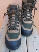 VASQUE Mens Tan Green GORE-TEX Leather High Top Hiking Trail Alpine Boot Size 9M