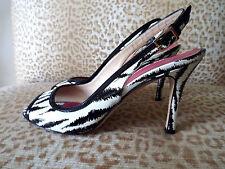 ***KATE SPADE Italy Sz 7M leather Slingbacks SHOES black ivory!!
