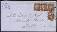 1841 1d Red Pl 120 AJ-BL Corner Plate Number Block Irish Cover Exhibition Item
