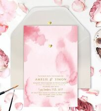 Gold Foil Heart Pink Watercolor Wedding Invitation - Sample Watercolour