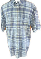 Pendleton Mens Medium Blue Yellow Plaid Short Sleeved Button Front Cotton Shirt