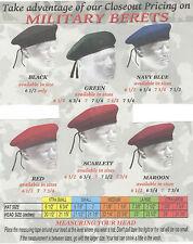 DENMARK'S MILITARY NY BRAND 95/5% WOOL/NYLON GREEN BERET SIZE - 7-1/4