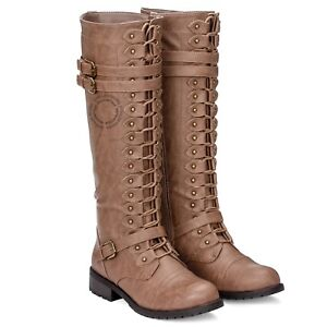 NEW Womens Knee High Boot Lace Up Buckle Fashion Military Combat Boots
