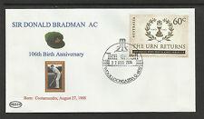 SIR DONALD BRADMAN 2014 106th BIRTHDAY COVER GABBA CRICKET POSTMARK