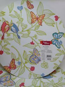 "Better Homes & Gardens 5 Round Placemats 15"" Vinyl, Butterfly Vine, birds, NOS"