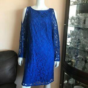 Black Saks Fifth Avenue Womens Blue Lace Long Sleeve Bell Sleeve Dress Size 12