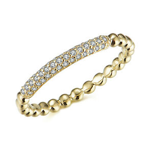 0.17 Carat Real Cluster Diamond Delicate Band Jewelry For Her 14K Yellow Gold