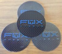 4 X FOX RACING ALLOY WHEEL BADGES (BLUE) TO FIT FX004 FX005 FX10