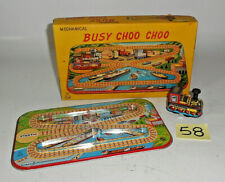 Vintage 1950's TPS Tin Wind Up Busy Choo Choo Toy Train  JAPAN EXCELLENT 58