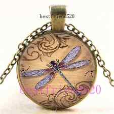 Vintage Dragonfly Photo Cabochon Glass Dome Bronze Pendant Necklace#A4