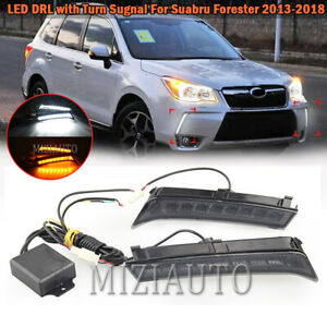 For 2013-2018 Subaru Forester LED Daytime Running Fog Lights DRL w/Turn Signal