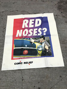 RARE VINTAGE SHELL ADVERTISING BANNER / POSTER - MR BEAN COMIC RELIEF (B)