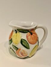 Majolica Water Pitcher Lemons and Oranges Citrus Fruit, Made in Italy, Numbered
