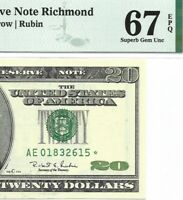 1996 $20 RICHMOND * STAR * ⭐️  FRN, PMG SUPERB GEM UNCIRCULATED 67 EPQ BANKNOTE.