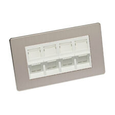 Cat 6 RJ45 Angled Wall Plate Double Gang Brushed Chrome Screw Less White Cat 6