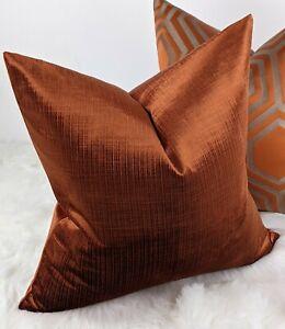 """JULIAS 18""""x18""""  Burnt Orange Rust Velvet Cushion Cover Textured Velvet Designer"""