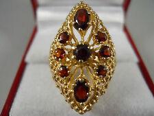 HEAVY WIDE 14K YELLOW GOLD GARNET BYZANTINE ROPE BOHEMIAN RING 14KT SZ 6.5 6.7G