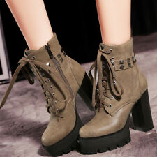 Women's Combat Ankle Boots Platform Military Motorcycle Chunky Heel Booties US 6