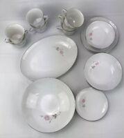 24 Pcs Wyndham Camille 642 China Cups Plates Bowls & Serving Platter Vintage HG