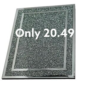 Large Silver Crushed Chopping Board Crystal Diamond Kitchen Placemat Mat Gift