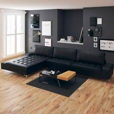 vidaXL Ecksofa Schlaffunktion Kunstleder Schwarz XXL Couch Sofa Couchgarnitur