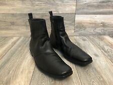 Hugo Boss Side Zip Ankle Boots In Black Leather, Size 12