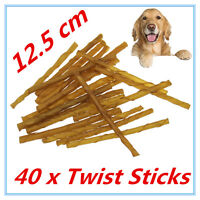 40 X NATURAL SMOKEY BEEF RAWHIDE TWIST STICKS CHEWS DOG TREAT ADULT PUPPY FD