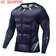 Superhero Black Panther Costume Cosplay Compression Tights Quick-Drying T-Shirt