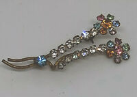 Vintage Clear & Pastel Colour Facet Cut Glass Beaded Brooch Kitsch Mid Century