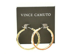 Vince Camuto Pave 35mm Hoop Earrings Goldtone New! NWT