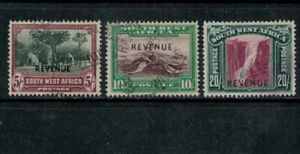 South West Africa 5/-, 10/- & 20/- Revenue, Barefoot 47-9, Used, 1940