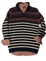 IZOD Boys 2-Piece Set Button Up Plaid Shirt & 1/4 Zip Sweater Size XL 14/16