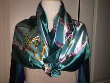 New Women Big Square Silk like Satin Large Scarf Wrap Shawl Green Pink Tassel US
