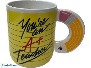 Vintage Avon You're An A+ Teacher 100% Pencil Handle Paper Coffee Cup Mug