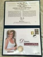 2002 Silver Proof 1 Crown Coin Cover COA Princess Diana Westminster Mint