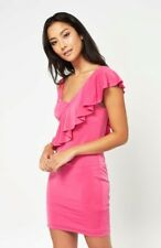 MISS SELFRIDGE ASYMMETRIC RUFFLE SLINKY PINK DRESS Size UK 8 RRP £25 BNWTS