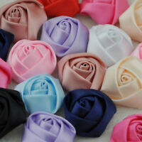 10/20/100 pcs Big Satin Ribbon Rose Flower DIY Craft Wedding Appliques Lots A007
