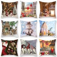 Christmas Pillowcase Snowman Pillow Case Square Pillow Sofa Bed Pillow Cushion G