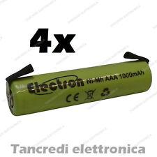4x 1,2 v 1000 mAh ministilo AAA terminali lamelle a saldare uso generico 900mAh