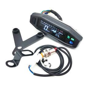 LCD Digital Motorcycle Speedometer Odometer Tachometer Bar Gauge With Bracket