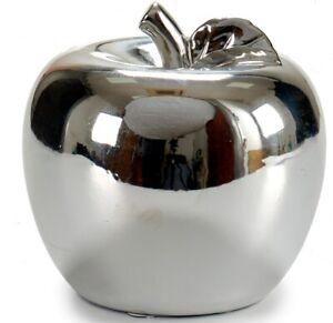 Large 18cm Decorative Fruit Silver Apple Large Apple Home Decor Ceramic
