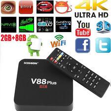 V88 plus Android5.1 Quad Core 4K 3D HDMI Smart TV BOX Media Player UK Plug 2+8GB
