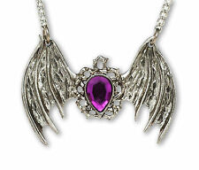 Gothic Bat Wings with Purple Teardrop Stone Pendant Necklace NK-600P