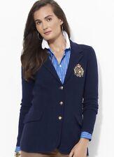 Ralph Lauren Wool Navy Blazer w/Gold Crown Crest Emblem Size 10