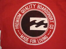 """Billabong Premium Quality Boardshort """"Made for Living"""" Red T Shirt S"""