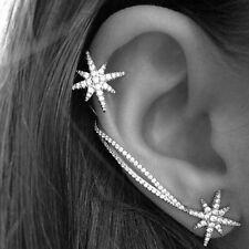 Elegant Women Punk Gothic Snowflake Rhinestone Clip Ear Studs Cuff Wrap Earrings