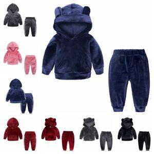 UK Children Kid Girls Boy Clothes Outfits Hoodie Velvet Tops Pants Tracksuit Set